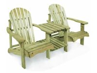 Pressure treated softwood Adirondack style garden chair.