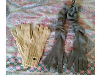 2 Pairs of New Unworn Womens Gloves - Bench Cream Cable Knit + Grey Long