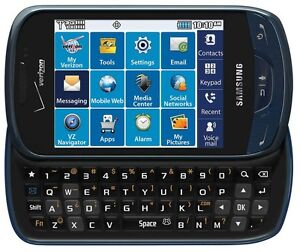New Verizon Samsung Brightside U380 Blue QWERTY Slider No Contract Cell Phone