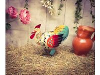 Brand New Hand made metal sculpture Coloured 28cm Chicken - Quirky Gift Idea