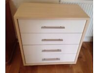 CHEST OF DRAWERS WHITE AND MAPLE EFFECT WITH STAINLESS STEEL ROD HANDLES IN VERY GOOD CONDITION