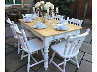 Solid Pine Farmhouse Dining Table & 6 Chairs - Shabby Chic Dining Set