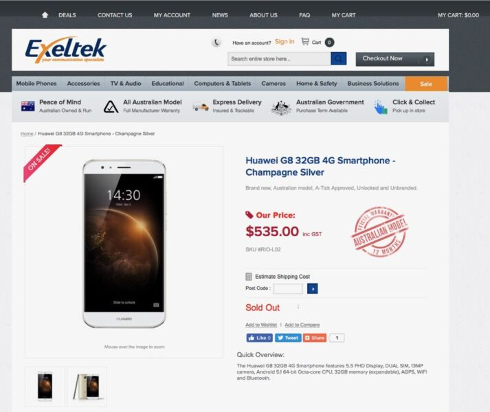 Great working HuaWei G8 dual SIM 32gb gold colour with