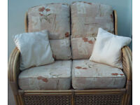 Cane Sofa, 2 seater with cushions, for conservatory or sunroom