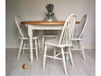 Solid Rustic Pine Dining Table with 4 Chairs