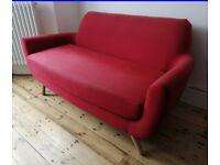 Retro Red Sofa - Made. com style - Compact 2 to 3 Seater