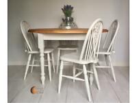 Solid Rustic Oval Pine Dining Table with 4 Chairs