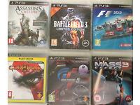 6 PS3 GAMES: Assassin's Creed III, Battlefield 3, F1 2012, Mass Effect 3, GT 5, God Of War II