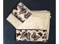 Ringley king size duvet cover & pillow cases cream & purple - new
