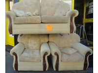 USED COMFTABLE CONDITION, A NICE CREAM PATTERN MATERIAL LARGE 2 SEATER SOFA + 2 ARMCHAIRS,
