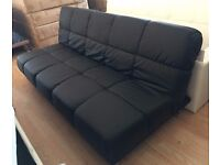 New 'Athens' 3 Seater Black Padded Faux Leather Sofa Bed (Free Local Delivery)