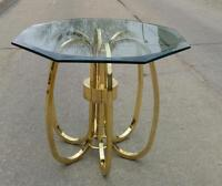 Vintage Modern Brass Glass Side, End, Coffee Table 80's