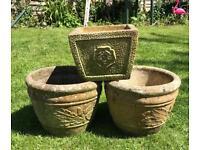 3 vintage molded concrete plant pots (trough cottage garden)