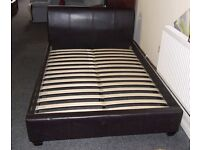 Brown faux leather double bed frame