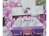 Table and Chair hire Age 3-6 years Princess theme Party Soft Play Bouncy Castle Balloon Arch