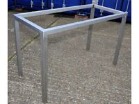 Stainless Steel Bar table with acid-etched glass top