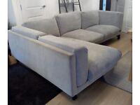 Ikea NOCKEBY Grey Fabric Corner Sofa