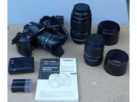 Olympus E-520 Digital Camera with 3 zoom lenses, manual and accessories