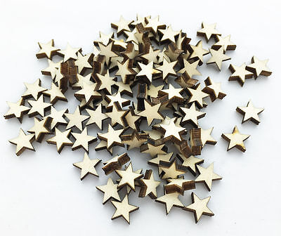 well 100pcs Wooden Blank Small Star Shapes Embellishments Crafts. SG - Wooden Star
