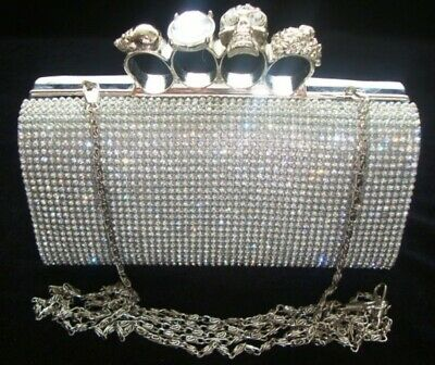 Knuckle Silver Diamante Crystal Evening bag Clutch Purse Party Prom Christmas