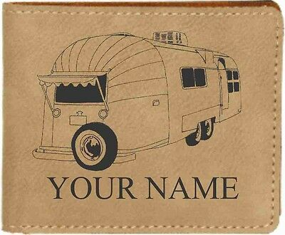 Airstream Trailer Leather Billfold With Drawing and Your Name On It-Nice Quality