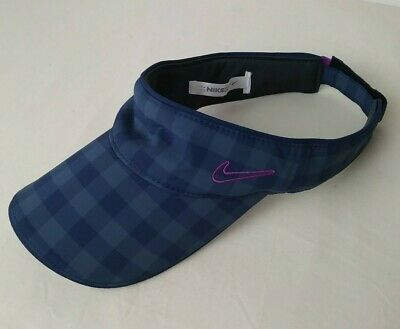 Nike Golf Blue Visor Cap One Size Summer Outdoor Plaid Check Adjustable Golf Plaid Visor