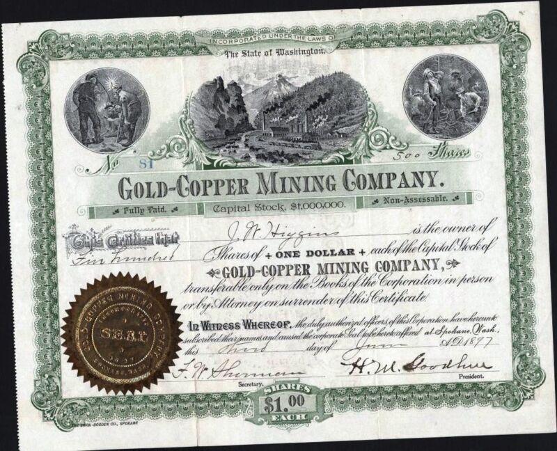 GOLD - COPPER MINING CO, SPOKLANE, WASH., 1877, UNCANCELLED STOCK CERTIFICATE