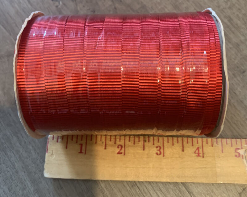 """Vintage Rayon Gift Tie/Christmas Curling Ribbon•Red•1/2"""" Width X 52 Feet•New•USA"""