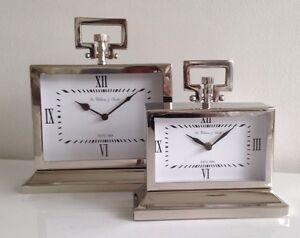 Small Square Mantle/Table Chrome Carriage Clock Home Decor Accessory
