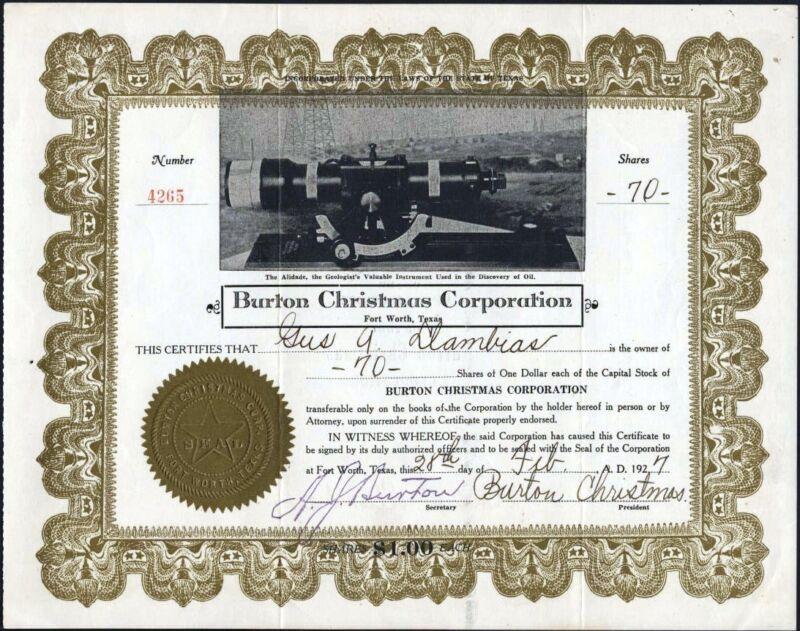 BURTON CHRISTMAS CORPORATION, FORT WORTH, TEXAS, 1927 UNCANCELLED STOCK CFT.