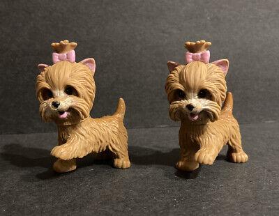2 BARBIE Doll House Pet Dog Brown Yorkie R9514 Potty Train Pups Lot P8