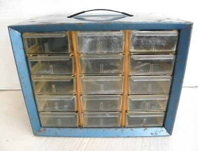 Vintage Akro-mils Metal Box 15 Drawer Nutbolt Small Parts Storage Cabinet