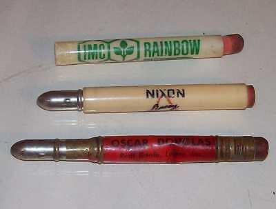 LOT 3 VINTAGE ANTIQUE BULLET PENCIL ADVERTISING RAINBOW NIXON LINCOY FEED ESTATE