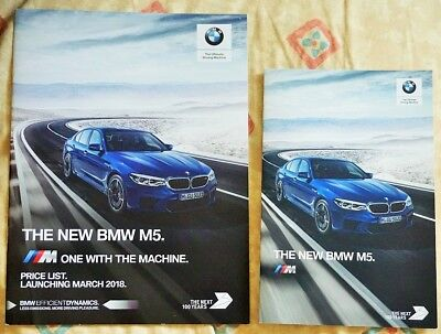 NEW MODEL BMW M5 2018 VERY RARE SMALL FORMAT UK BROCHURE AND PRICE LIST