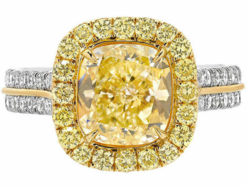 Fancy Yellow 2.25 CT Cushion Cut GIA Diamond Engagement Ring in 18k White Gold