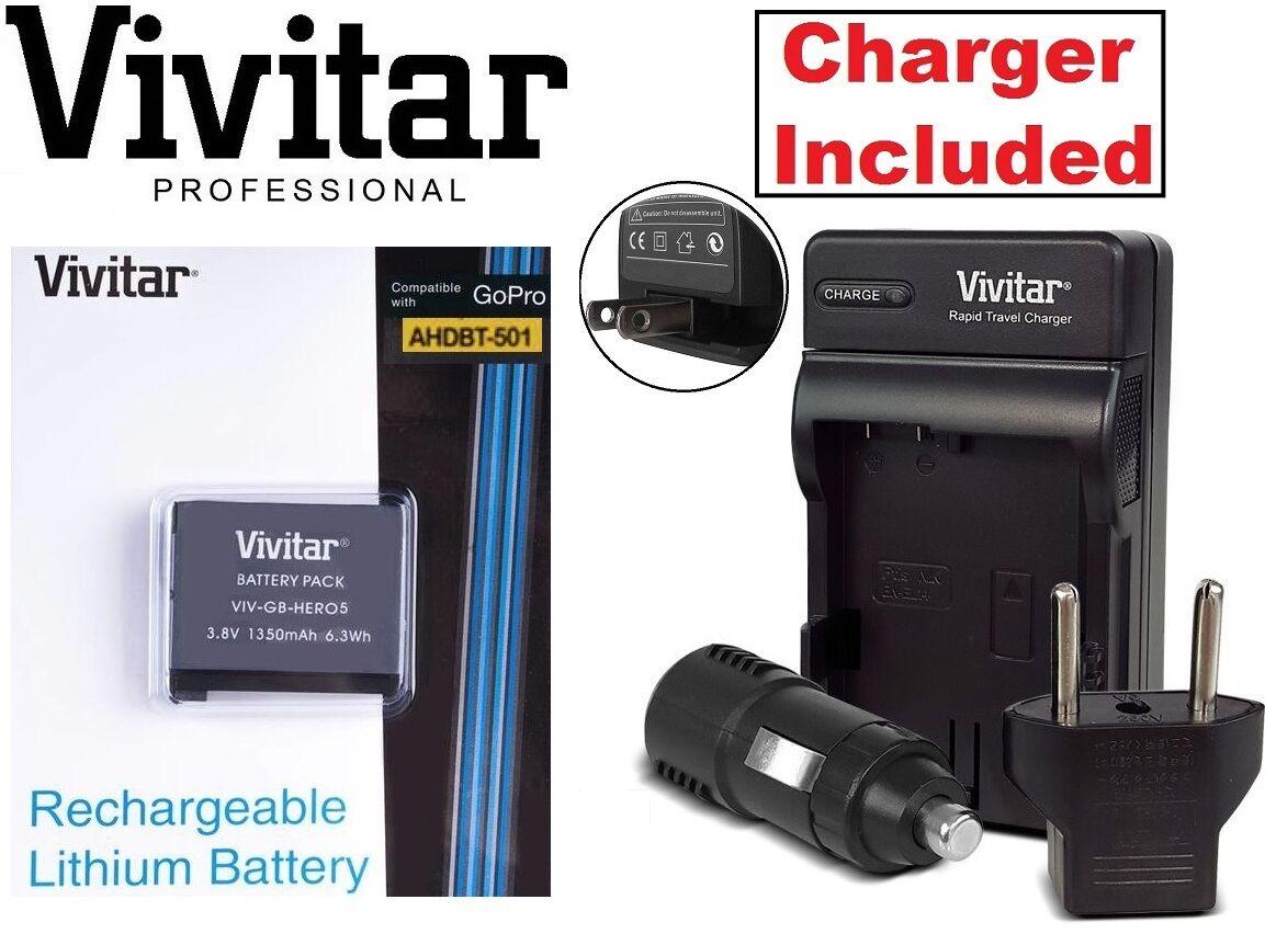 Lithium Ion AHDBT-501 Vivitar Battery & Rapid Charger for Go