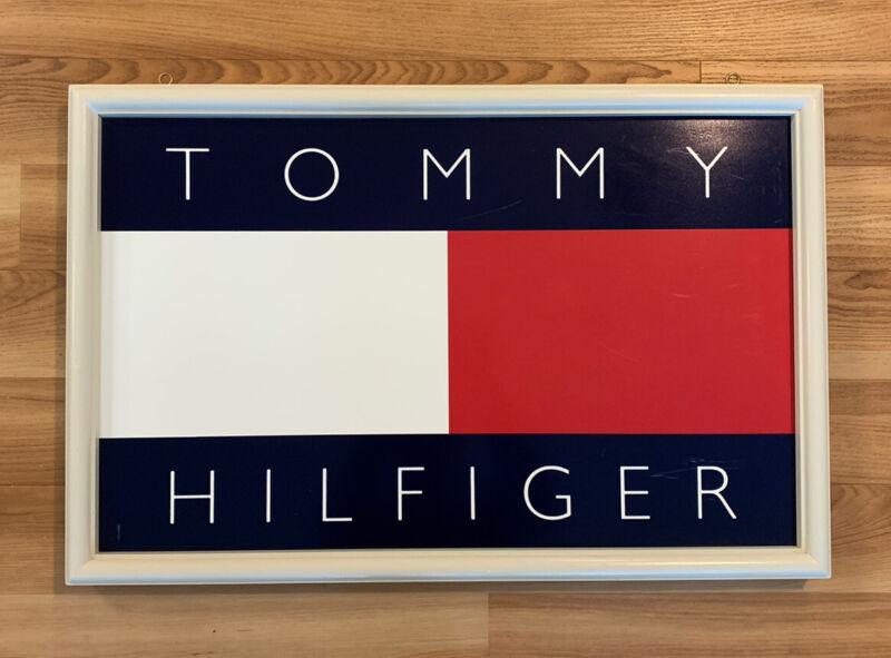 VTG 90's Tommy Hilfiger Double Sided Hanging Store Display Sign Flag Big Logo