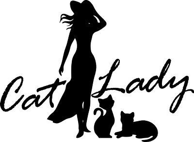 Cat Lady Decal Window Bumper Sticker Car Decor Classy Fashion Cats Lover Pets - Window Decoration