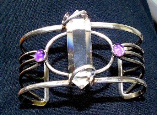 Vintage Large Signed UMA SILBEY Sterling Silver  Crystal Quartz Cuff Bracelet