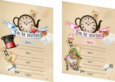 Vintage inspired Alice in Wonderland party Invitation  set of 8   - Alice In Wonderland Party Invitations