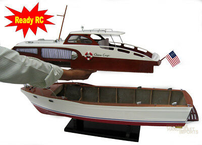 Handcrafted Chris Craft Cabin Cruiser Wooden Model Boat 30""