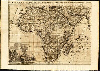 Rare Antique Map-AFRICA-ELEPHANT-NATIVE-NEGRO-LION-SNAKE-Pieter van der Aa-1725