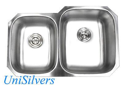 "32"" Stainless Steel 18G Undermount 40/60 Double Bowl Kitchen Sink"
