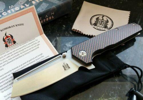 Komoran Red Twill Carbon Fiber Ball Bearing Flipper Pocket Knife Cleaver Blade