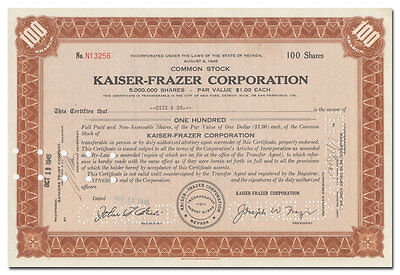 Kaiser-Frazer Corporation Stock Certificate