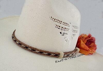 b04a3da1924 Cowboy horse hair HAT BAND no tassels 3 strand chestnut white black  horsehair