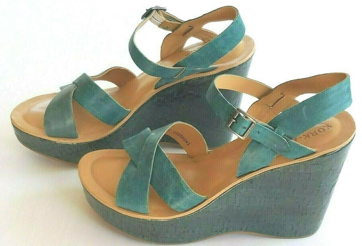 Kork Ease Women's Teal Leather Wedge Platform Shoe Sandal Si