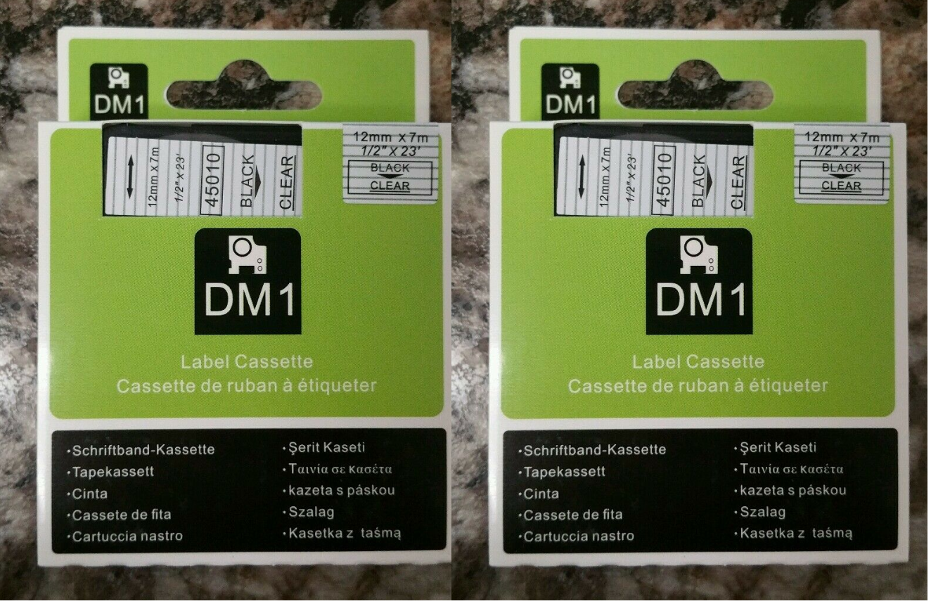 2PK Black on Clear Tape Label Compatible for DYMO 45010 D1