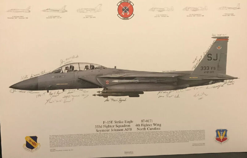 Signed USAF Litho - 333rd Fighter Squadron F-15E Strike Eagle Print Air Force