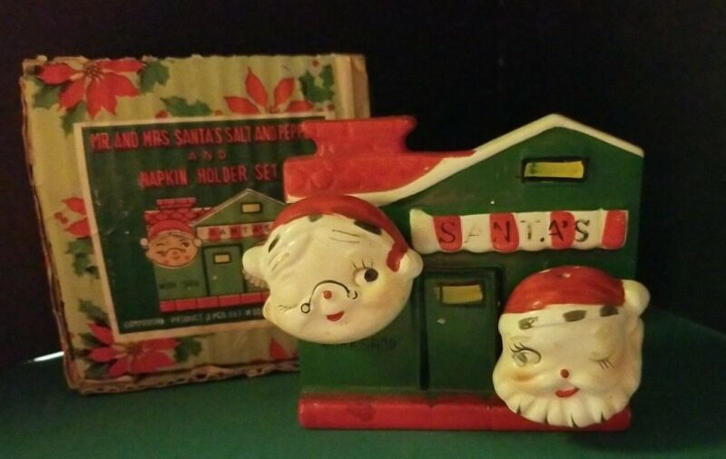 Vintage COMMODORE Japan Santa & Mrs. Santa Salt & Pepper & Napkin Holder 1950s